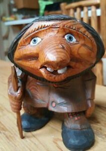 Vintage Norwegian Otto Sveen Hand Carved Wooden Troll Signed 1984