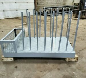 Steel Plate Storage Rack W metal Bin Skid Construction W fork Pockets