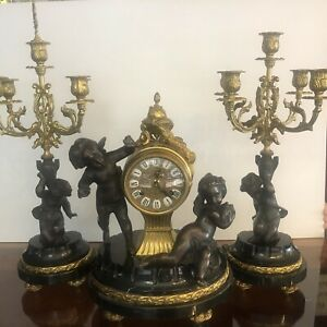 Vintage Imperial Italian Mantel Clock Bronze Brass And Marble With 2 Candelabras
