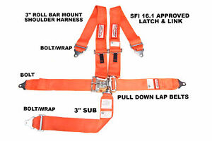 Sfi 16 1 Racing Harness 5 Point Latch Link 3 Seat Belt Orange Or Any Color