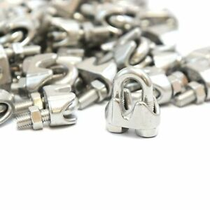 50 1 8 3mm Stainless Steel Wire Rope Clips Cable Saddle Clamps U Bolt Cinch