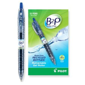 Pilot B2p Recycled Retractable Gel Roller Pens Fine Point Blue 2 dozen 31601