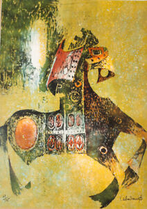 Mid Century Modern Art Lithograph Horse Knight Green Black Red Numbered Signed