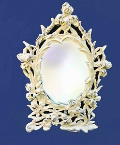 Antique Victorian Vanity Mirror Oval Shabby Ornate Cast Iron Easel Stand 14 Tal