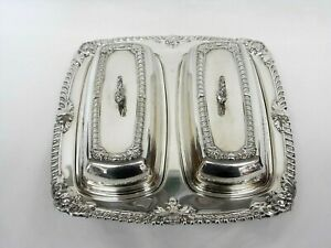 Vintage Rosb Silverplate Double Dual Butter Dish W Glass Inserts