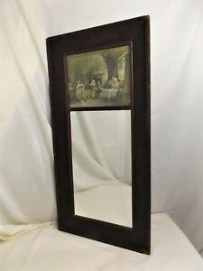 Tall Antique Hanging Mirror With Renaissance Print In Upper Panel 39 X 19
