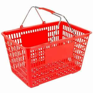 Red Plastic Shopping Basket With Strong Metal Handles 1 Basket