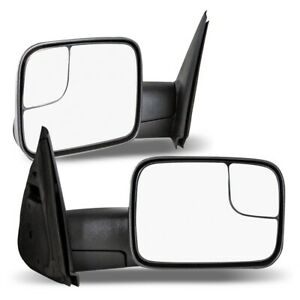 02 08 For Dodge Ram Truck Towing Side Mirrors Pair Manual Texture Rear View