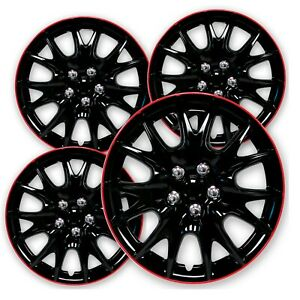 Wheels Cover 13 Inch Black Red Premium Quality Hubcaps 13 Set Of 4