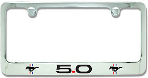 Ford Mustang 5 0 Chrome Plated Metal License Plate Frame Holder