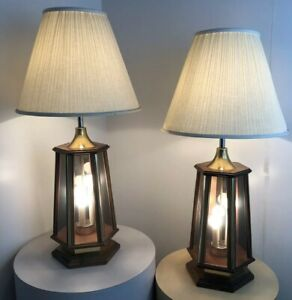Pair Vintage Mid Century Danish Modern Space Age Pearsall Light Up Base Lamps