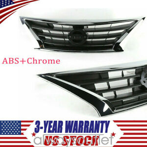 For 2015 2017 Nissan Versa Sedan Bumper Upper Grill Front Abs Chrome Us Top
