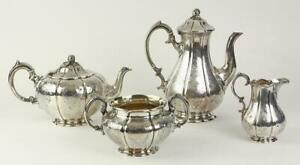 Antique English A B Savory Sons London Sterling Silver Tea Coffee Service 1865