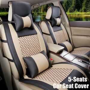 Front rear Car Seat Cover W Pillows Set Pu Leather Mesh 5 seats Black Beige
