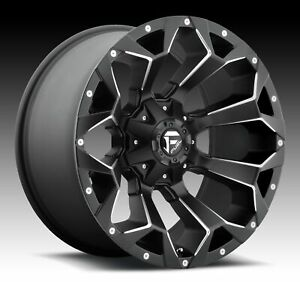 Set Of 4 22x9 5 Et 20 Fuel D546 Assault Black Milled Wheels 8x165 1