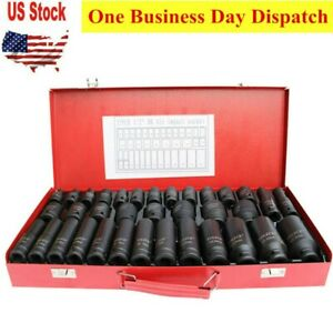 35pcs 1 2 Deep Impact Socket Set Drive 8 32mm Metric Garage Sae With Case