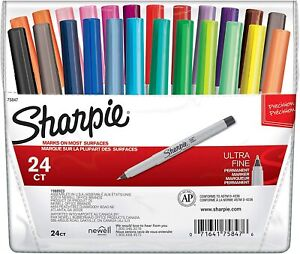 75847 Sharpie Permanent Markers Ultra Fine Point Assorted Colors Pack Of 24
