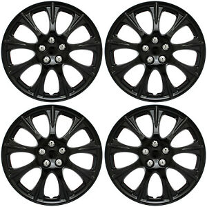 4 Piece Set 15 Inch Abs Ice Black Hub Caps Wheel Covers Cover Cap