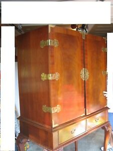 Vintage Hickory Chair Mahogany Armoire Entertainment Center