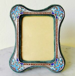 Faberg Workmaster August Hollming Russian Cloisonne Enamel Silver Picture Frame