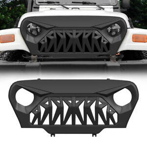 Front Shark Grille Guard Fit 1997 2006 Jeep Wrangler Tj Matte Black W Mesh Abs