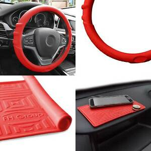 Silicone Steering Wheel Cover Grip Marks W Red Dash Mat Red For Car