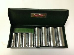 Vintage 8 Pc S k 3 8 Deep Socket Set 3 8 To 13 16 W metal Box Sk Wayne