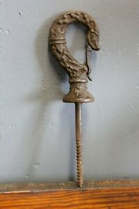 Vintage Ornate Cast Iron Hook With Clasp Hat Coat Clothing Industrial Hardware