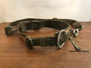 Vintage Telephone Lineman s Climbing Harness Safety Strap Heavy Duty Belt a3
