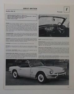 1969 Triumph Spitfire Ad Article Must See