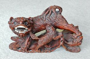 Vintage Large Chinese Wood Carving Pair Shishi Lion Foo Dogs 16 X 8