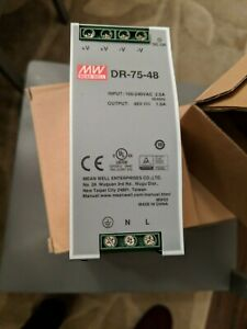 Mean Well Dr 75 48 Ac dc Power Supply Single out 48v 1 6a 76 8w 7 pin Authorized