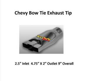 Brand New Polished Stainless Chevy Bow Tie Exhaust Tip 2 1 2 In 4 3 4 X 2 Out