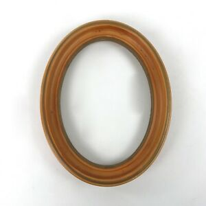 Vintage Solid Wood Oval Picture Frame Orange W Gold Painted Trim 7 X 9