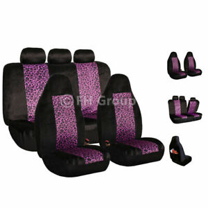 2 Tone Purple Leopard Velour Seat Covers For Car Suv Van Universal Fitment