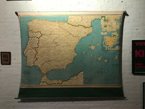 Vintage Rand Mcnally Pull Down Map Of Spain 322sw