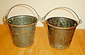 Vintage Pair Primitive Metal Buckets Farm Pails W Handles Iowa Barn Find