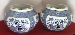Antique Chinese Porcelain Blue White Jar Marked Petals Made In China Lot Of 2