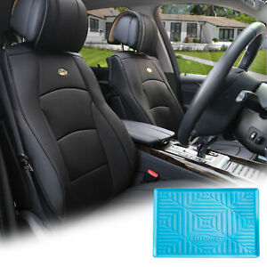 Pu Leather Bucket Seat Covers Pair Set Black With Blue Dash Mat Sedan