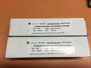 Lot Of 2 Cadence Scientific Micro mate Glass Syringes 5057 500 Lock Tip New