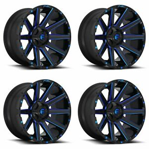 4x Fuel 22 Contra D644 Wheels Gloss Blue Milled 22x10 6x135 18mm 4 75 Bs