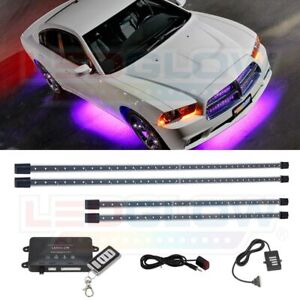 4pc Ledglow Wireless Purple Led Neon Underbody Lights Underglow Kit For Cars