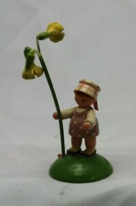 Vintage German Erzgebirge Hand Carved Wooden Figure Girl With Flowers