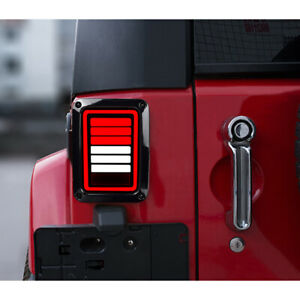 6 Bars Led Smoked Tail Lights For Jeep Wrangler 2007 2018 Jk Jku 2