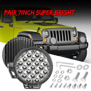 2x 7inch Led Round Work Lights Spot Beam Offroad Driving Pods 6000k Super Bright