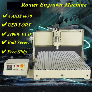 4 Axis 6090 Router Usb Engraver Machine Metal Woodworking Milling 2 2kw Vfd