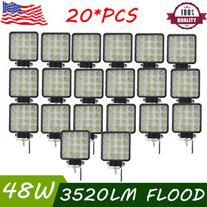 20x 48w Led Work Light Flood Beam 12v 24v Offroad Car Boat Truck Tractor 4wd Suv