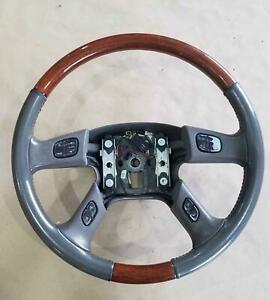 2003 2006 Cadillac Escalade Steering Wheel Oem Gray Woodgrain