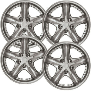 12 Set Of 4 Wheel Covers Silver Lacquer Hub Caps Fit R15