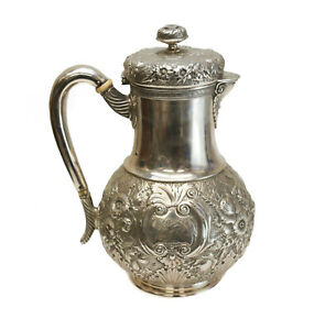 Tiffany Co Makers Sterling Silver Teapot Circa 1880 Hand Chased Florals